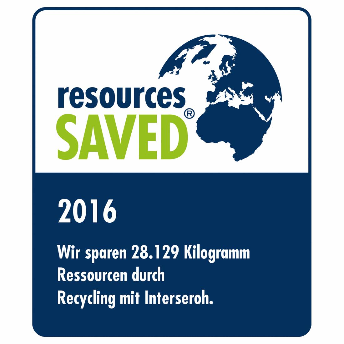 2016 - Eingesparte Ressourcen durch Recycling