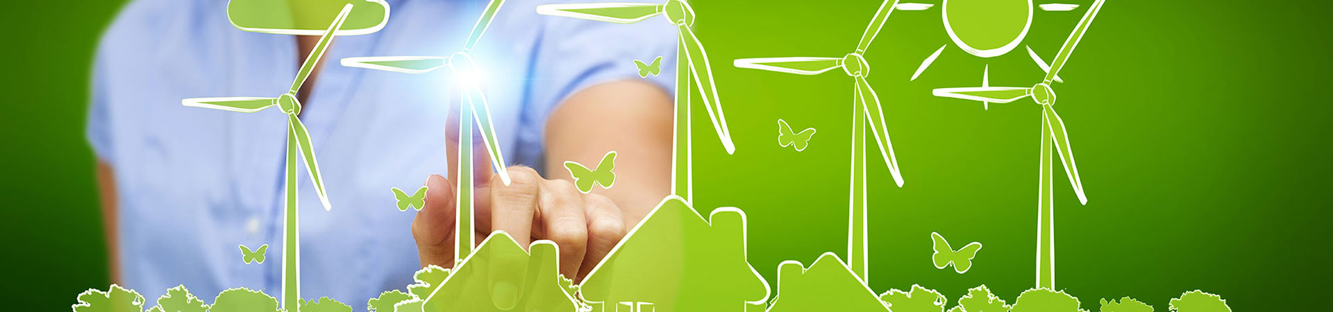 Banner showing business woman touching renewable energy sketch