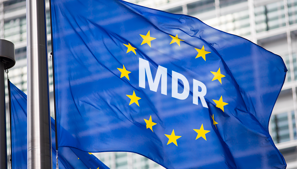Illustration: EU Flag with MDR Medical Device Regulation