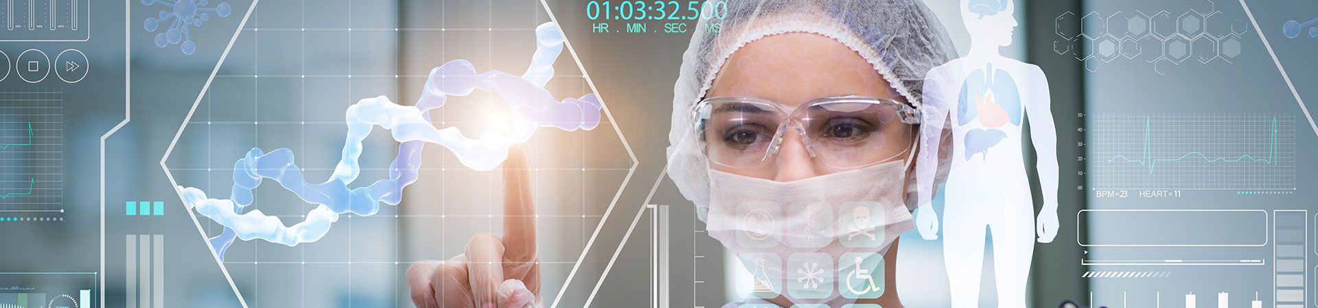Doctor in futuristic medical concept touching display
